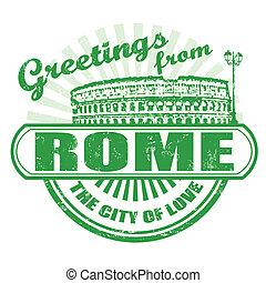 roma, saludos, estampilla