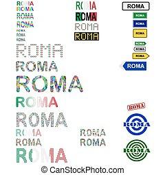 Roma text design set