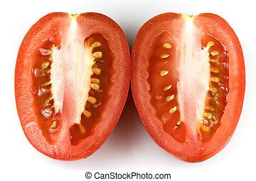 Roma tomatoes - Roma tomato – longitudinal section isolated...
