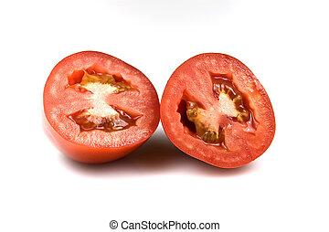 Roma tomatoes - Roma tomato – transversal section isolated...
