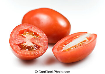 Roma tomatoes – shallow DOF on the cuts isolated on white