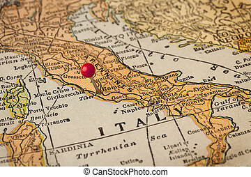 roma, y, italia, vendimia, mapa