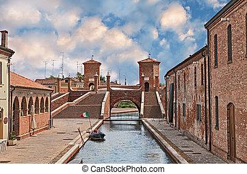romagna, 知られている, ferrara, 町, わずかしか, 古代, italy:, emilia, 橋, ...