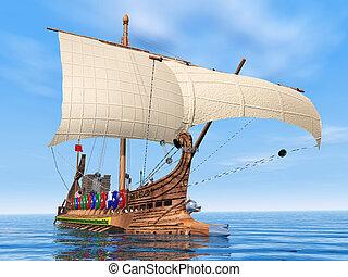 romain, ancien, navire guerre