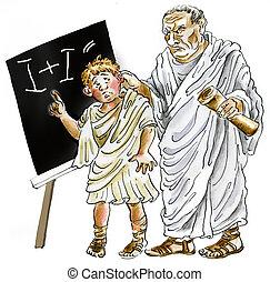romain, ancien, prof, écolier
