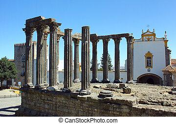 romain, evora, temple, portugal