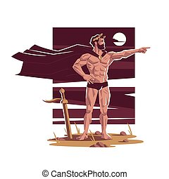 romain, guerrier, commandant, ou, grec