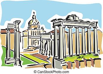 romain, rome, (ancient, forum)