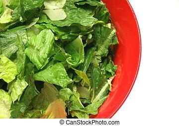 Romaine lettuce in red salad bowl