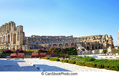Roman amphitheater - El Jem - Roman amphitheater in the city...