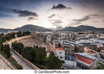 Roman Amphitheater in Cartagena, Spain at sunset