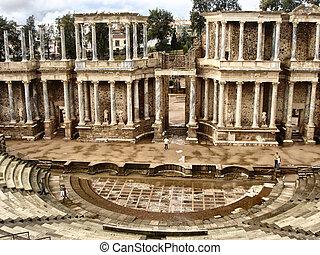 The Roman Theatre, Merida in Extremadura, Spain.