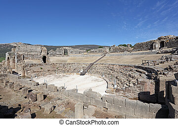 Roman amphitheater ruin in Bolonia, Andalusia, southern Spain