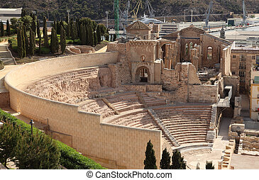 Roman Amphitheater ruin in Cartagena, Spain
