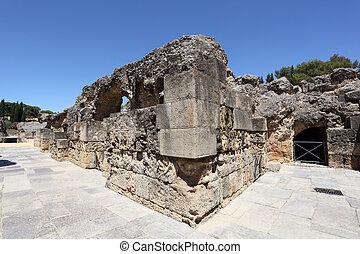 Roman Amphitheater ruin Italica. Province Seville, Andalusia Spain