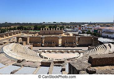 Roman Amphitheater ruins Italica, Province Seville, Spain