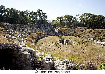 Roman amphitheater, Syracuse - Roman amphitheater, Neapolis...