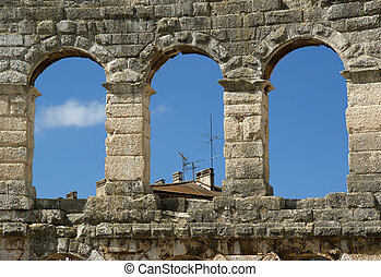 Roman Amphitheater, view of the Arena (colosseum)  in Pula, Croatia