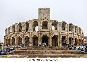 Roman amphitheatre in Arles - UNESCO world heritage in ...