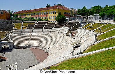 Roman amphitheatre in Plovdiv, Bulgaria