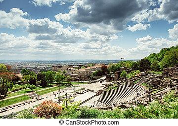 Roman Amphitheatre, Lyon, France - Aerial of the...