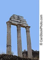 Roman antiquity: Closeup of the Roman Forum in Rome, Italy