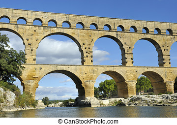 Roman aquaduct Pont du Gard, France. This bridge is an...