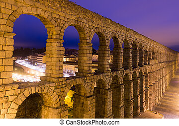roman aqueduct in Segovia, Spain