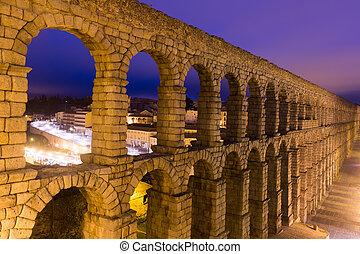 roman aqueduct in Segovia, Spain