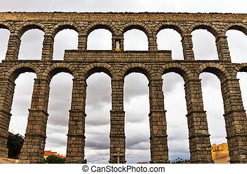 Roman aqueduct in Segovia (Spain)