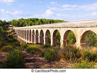 Roman aqueduct in Tarragona. Catalonia