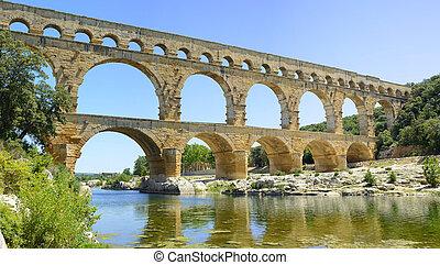 Roman aqueduct Pont du Gard, Unesco site.Languedoc, France.