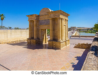 Roman arch in Harbor Square in Cordoba, Spain