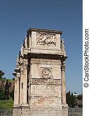 Roman Arch Under Clear Blue Sky