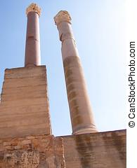 Roman Bath Columns Carthage Tunisia - Tall stone columns set...