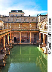 Roman Baths, Bath, England - View looking down over the...