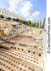 A view of the archaeological ruins of the ancient roman baths discovered in downtown Beirut, in Lebanon, surrounded by modern buildings.