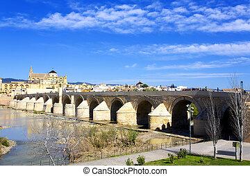 Roman Bridge and Guadalquivir river, Great Mosque, Cordoba, ...