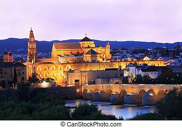 Roman Bridge and Guadalquivir River illuminated at dusk, ...