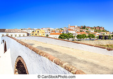 Roman bridge and medieval castle in Silves, Portugal
