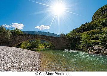 Roman Bridge and Sarca River - Italy - Ancient roman bridge ...