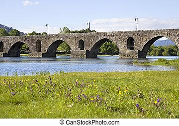roman bridge of Ponte de Lima in Portugal