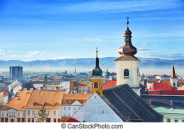 Roman Catholic Church and old town in Sibiu