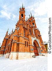 Roman Catholic church in wintertime. Parish of the sacred Heart of Jesus in Samara, Russia