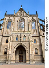 Roman Catholic Saint Barbaras Church in Kutna Hora, sunny summer day, Czech Republic