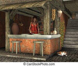 Roman Caupona - Young woman preparing to serve food at an...