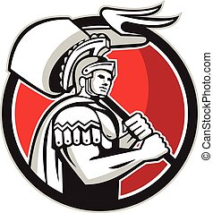 Roman Centurion Carry Flag Circle Retro