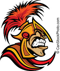 Roman Centurion Head with Helmet Vector Cartoon - Trojan or...