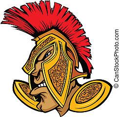 Cartoon Trojan or Spartan Vector Mascot with Headdress