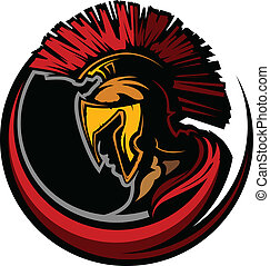 Roman Centurion Mascot Head with He - Graphic Trojan or...